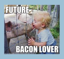 "Viral Meme of Little Boy Kissing Pig ""Future Bacon Lover"" Photograph by KTMorgan"