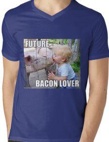 "Viral Meme of Little Boy Kissing Pig ""Future Bacon Lover"" Photograph Mens V-Neck T-Shirt"