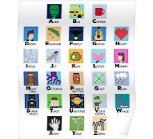 Pixel Art Alphabet Poster