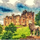 Alnwick Castle Watercolor and sketch by Moonlake
