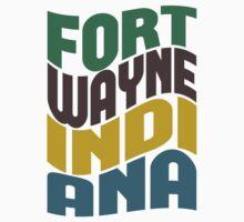 Fort Wayne Indiana Retro Wave One Piece - Short Sleeve