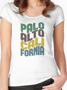 Palo Alto California Retro Wave Women's Fitted Scoop T-Shirt