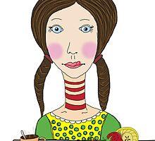 Girl with coffee and cupcake by ywanka