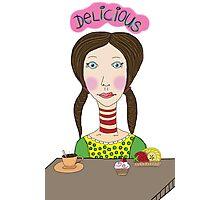 Girl with coffee and cupcake Photographic Print