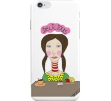 Girl with coffee and cupcake iPhone Case/Skin