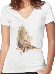 Splatter Owl Women's Fitted V-Neck T-Shirt