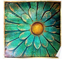 Blue and Gold Metal Daisy I Poster