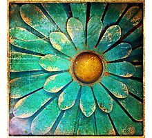 Blue and Gold Metal Daisy I Photographic Print