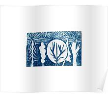 linocut trees Poster