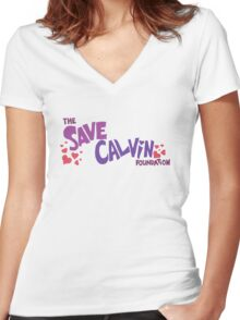 Save Calvin Foundation Women's Fitted V-Neck T-Shirt