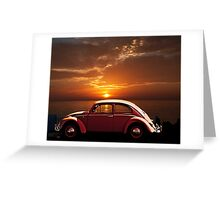 VOLKSWAGEN BEETLE WITH CALIFORNIA SUNSET Greeting Card