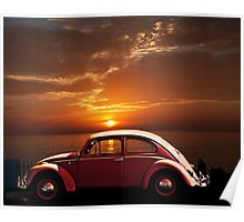 VOLKSWAGEN BEETLE WITH CALIFORNIA SUNSET Poster