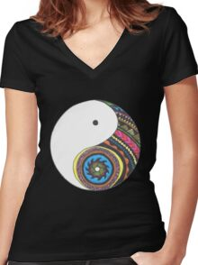 Ying Yang Women's Fitted V-Neck T-Shirt