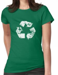 Recycle (Distressed - White) Womens Fitted T-Shirt