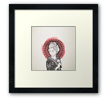 Japanese flag and Geisha Framed Print