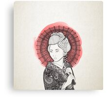 Japanese flag and Geisha Canvas Print