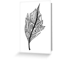Zentangle Feather Balck and White Design Greeting Card