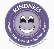 Kindness Makes the World a Better Place - Purple T-shirt by RippleKindness