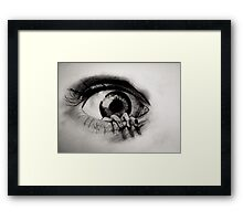 Hand crawling out of Eye Framed Print