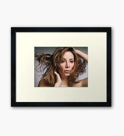 Beauty portrait of woman with flying light brown hair art photo print Framed Print