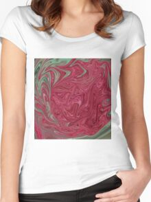 Red Seedhead Abstract Women's Fitted Scoop T-Shirt