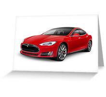 Tesla Model S red luxury electric car art photo print Greeting Card