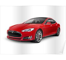 Tesla Model S red luxury electric car art photo print Poster