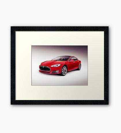 Tesla Model S 2014 red luxury sedan electric car art photo print Framed Print