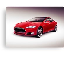 Tesla Model S 2014 red luxury sedan electric car art photo print Canvas Print