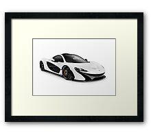 White 2014 McLaren P1 plug-in hybrid supercar art photo print Framed Print