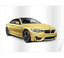 2015 BMW M4 Coupe performance car art photo print Poster