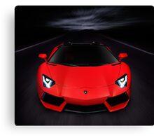 Lamborghini Aventador LP 700-4 Roadster sports car on the road art photo print Canvas Print