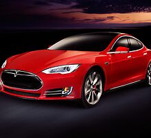 Tesla Model S red luxury electric car outdoors art photo print by ArtNudePhotos