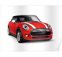 Red 2014 Mini Cooper Hardtop car art photo print Poster