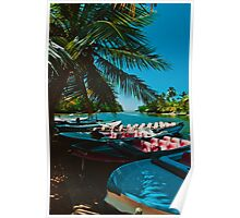 Boat station in jungle Poster