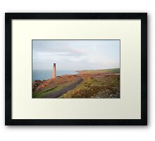 Mine chimney overlooking the sea, Cornwall Framed Print