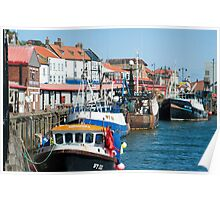 Fishing fleet in Whitby harbour Poster