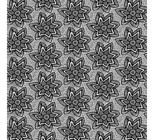 Black knitted lace pattern with flowers Photographic Print