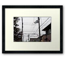 japanese power lines Framed Print