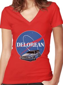 DELOREAN SPACE Women's Fitted V-Neck T-Shirt
