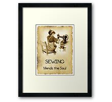 Love Sewing, Drawing of Girl At Old Sewing Machine, Quote Framed Print