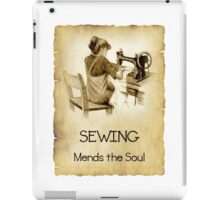 Love Sewing, Drawing of Girl At Old Sewing Machine, Quote iPad Case/Skin