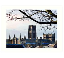Durham Cathedral - A View Over the Rooftops Art Print