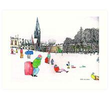 Edinbrough Tobogganing Snow Scene 3 Art Print