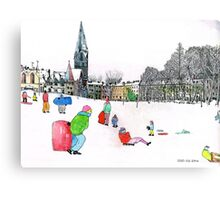 Edinbrough Tobogganing Snow Scene 3 Metal Print
