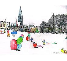 Edinbrough Tobogganing Snow Scene 3 Photographic Print