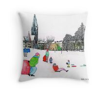 Edinbrough Tobogganing Snow Scene 3 Throw Pillow