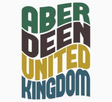 Aberdeen United Kingdom Retro Wave by Location Tees