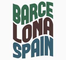 Barcelona Spain Retro Wave Kids Clothes