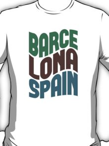 Barcelona Spain Retro Wave T-Shirt
